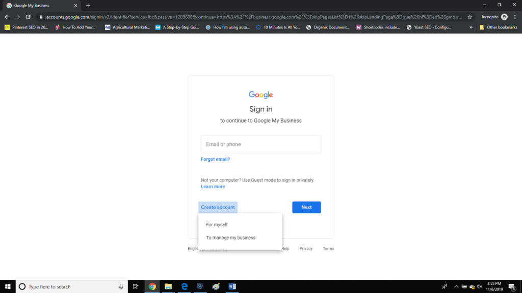 the button that shows how to create a new google MyBusiness account so you can claim your business listing