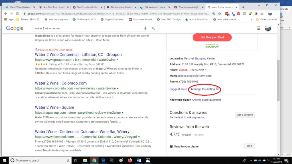 screenshot showing how to claim your google listing if it's already created