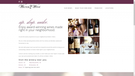 screenshot of water 2 wine local websites for franchise